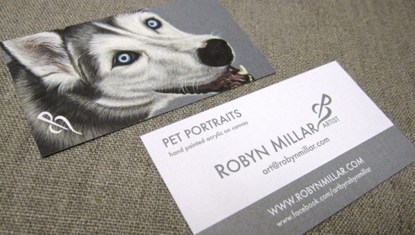 My new pet portrait business cards for Pet business cards