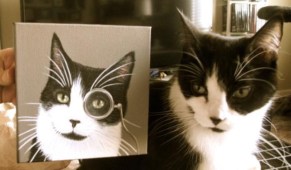 Roux posing with his portrait