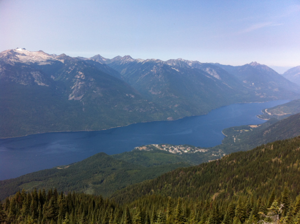 Looking out from the top, towards New Denver / Slocan Lake