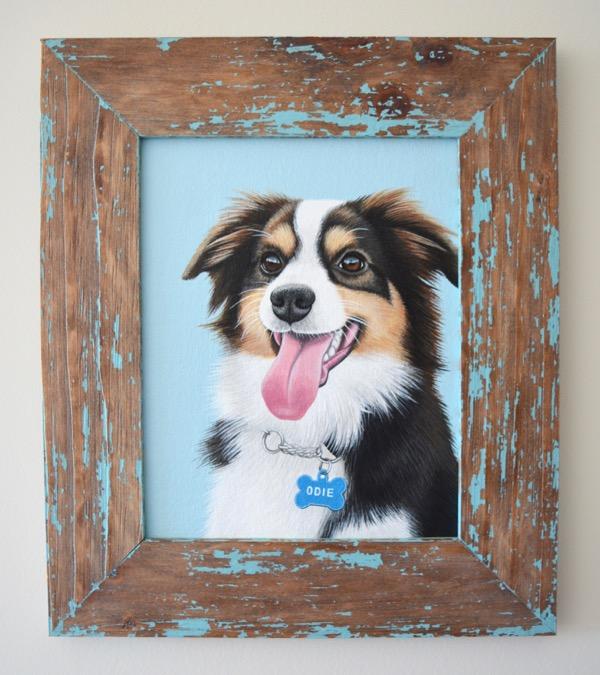 odie in wood frame